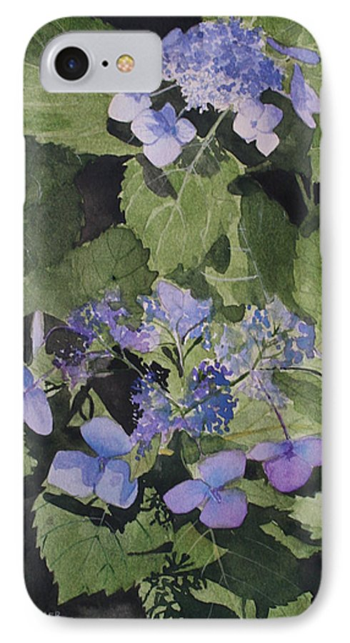 Flowers IPhone 7 Case featuring the painting Blue Lace by Jean Blackmer