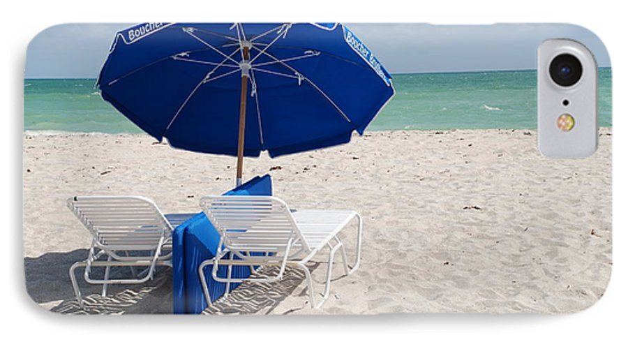 Sea Scape IPhone 7 Case featuring the photograph Blue Paradise Umbrella by Rob Hans