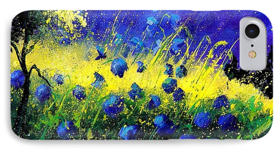 Flowers IPhone 7 Case featuring the painting Blue Poppies by Pol Ledent