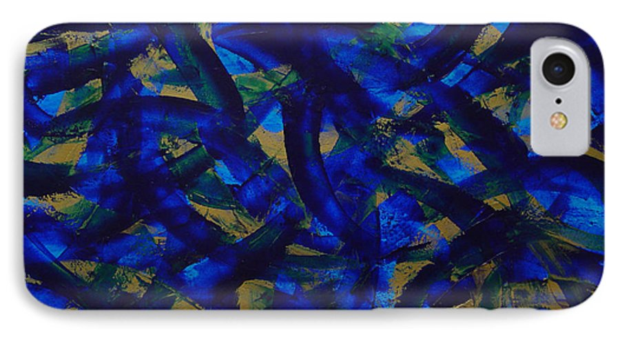 Abstract IPhone 7 Case featuring the painting Blue Pyramid by Dean Triolo
