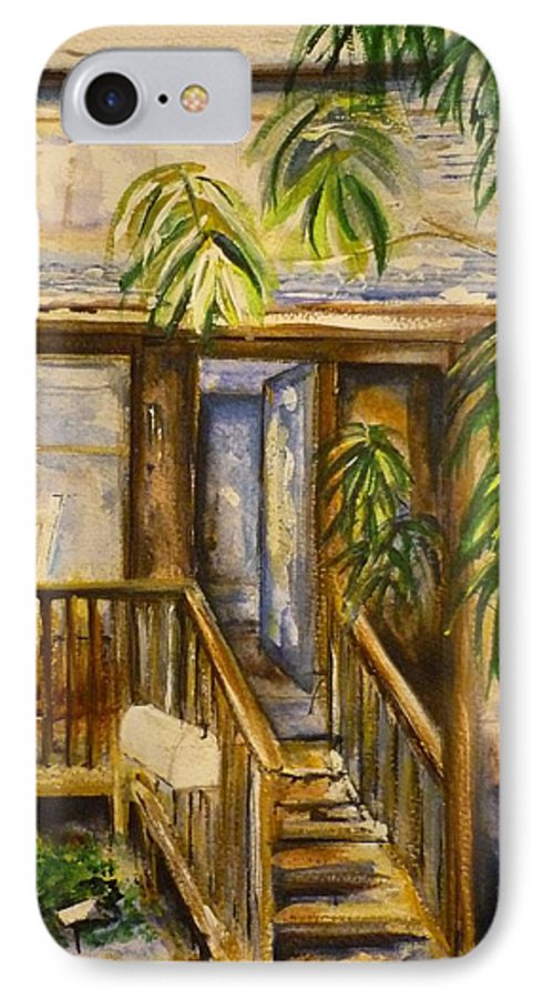 Blue Ridge Mountains IPhone 7 Case featuring the painting Blue Ridge Cabins Blue Ridge Mountains by Lizzy Forrester