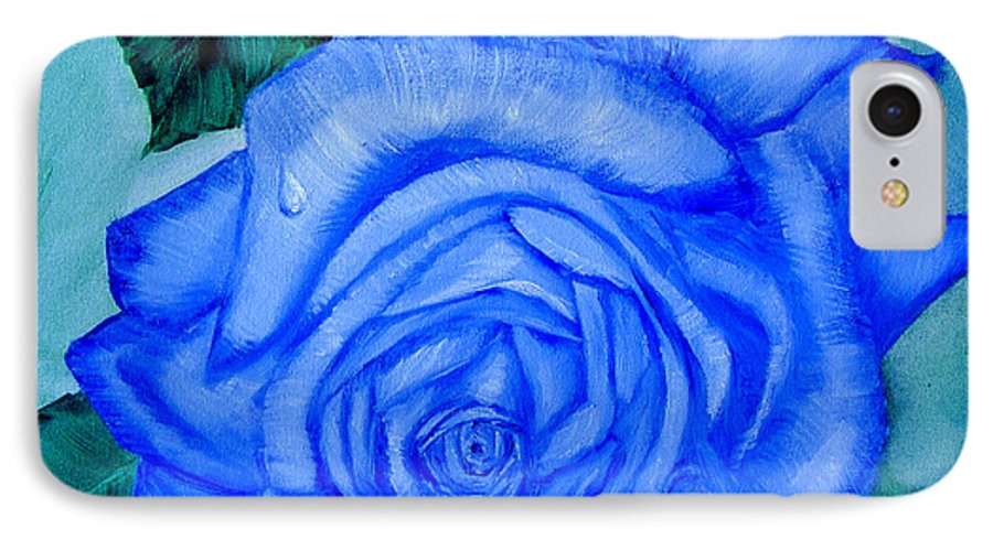 Rose IPhone 7 Case featuring the painting Blue Rose by Quwatha Valentine