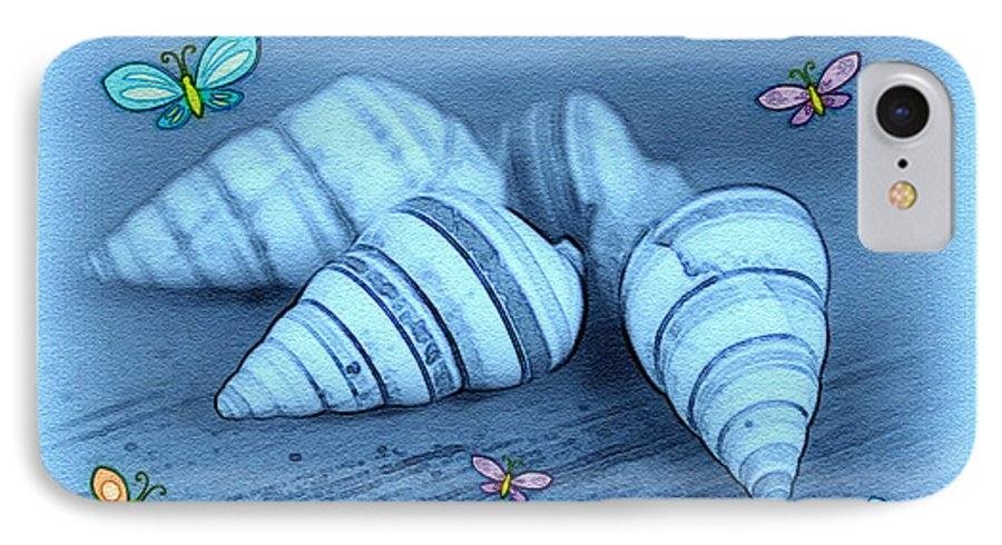 Shell Art IPhone 7 Case featuring the photograph Blue Seashells by Linda Sannuti