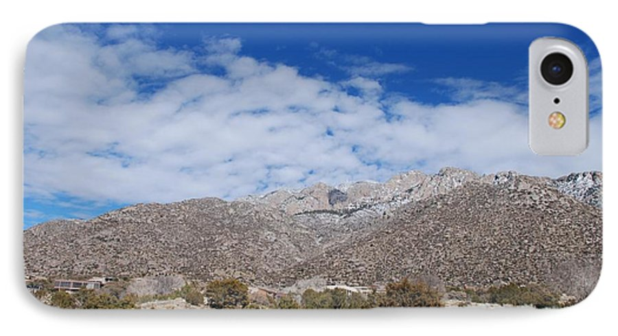 Sandia Mountains IPhone 7 Case featuring the photograph Blue Skys Over The Sandias by Rob Hans