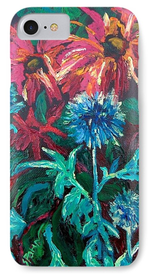 Red IPhone 7 Case featuring the painting Blue Thistle And Bee Balm by Susan Spohn