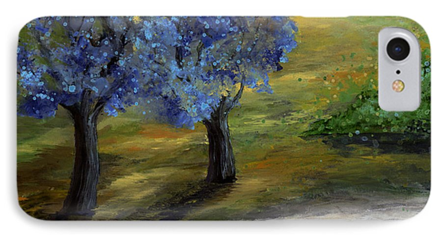 Trees IPhone 7 Case featuring the painting Blue Trees by Laura Swink