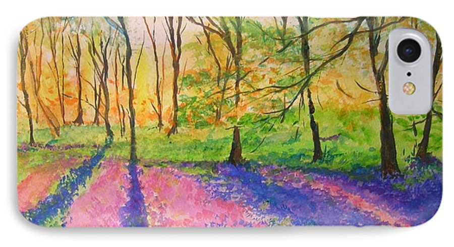 Landscape IPhone 7 Case featuring the painting Bluebell Wood by Lizzy Forrester