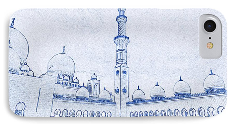 Blueprint drawing of abu dhabi sheikh zayed mosque islamic architectural blueprint font iphone 7 case featuring the painting blueprint drawing of abu dhabi sheikh zayed malvernweather Images