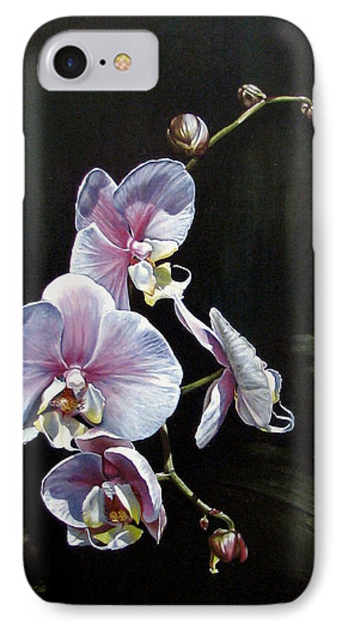 Orchid IPhone 7 Case featuring the painting Blushing by Joan Garcia