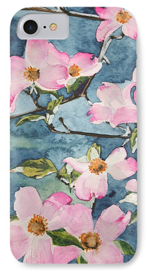 Flowers IPhone 7 Case featuring the painting Blushing Prettily by Jean Blackmer