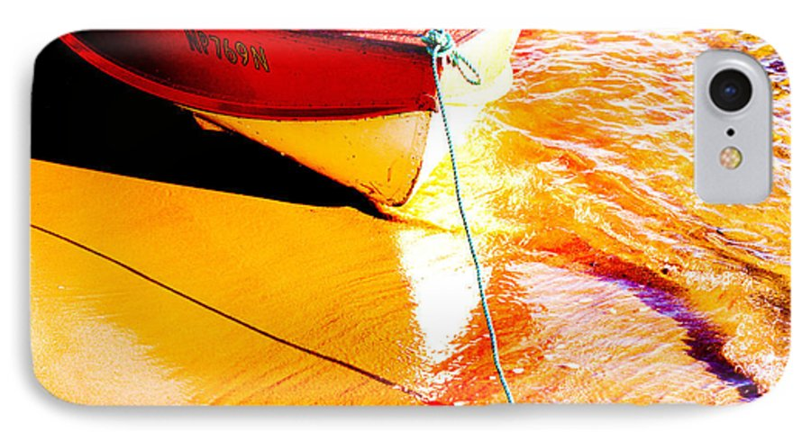 Boat Abstract Yellow Water Orange IPhone 7 Case featuring the photograph Boat Abstract by Avalon Fine Art Photography