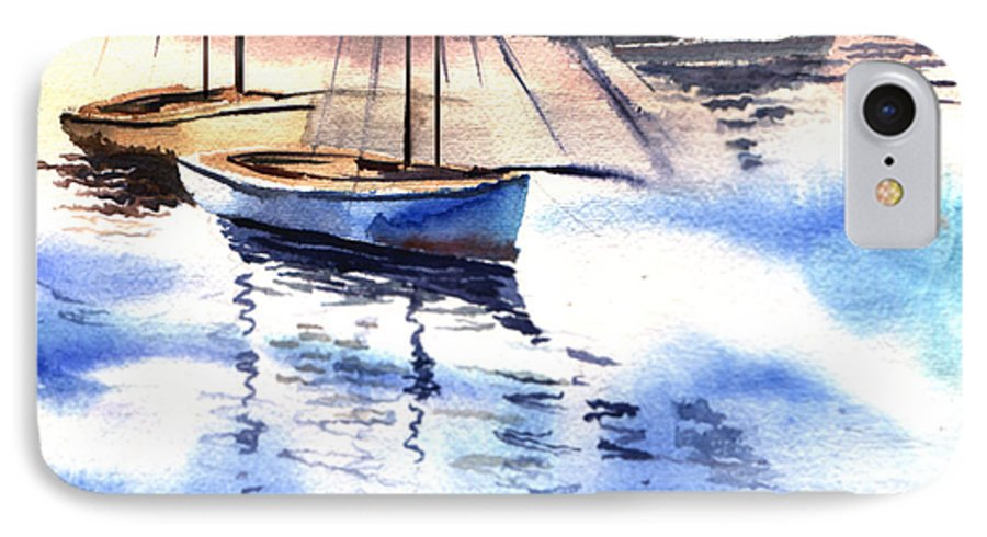 Watercolor IPhone 7 Case featuring the painting Boat And The River by Anil Nene