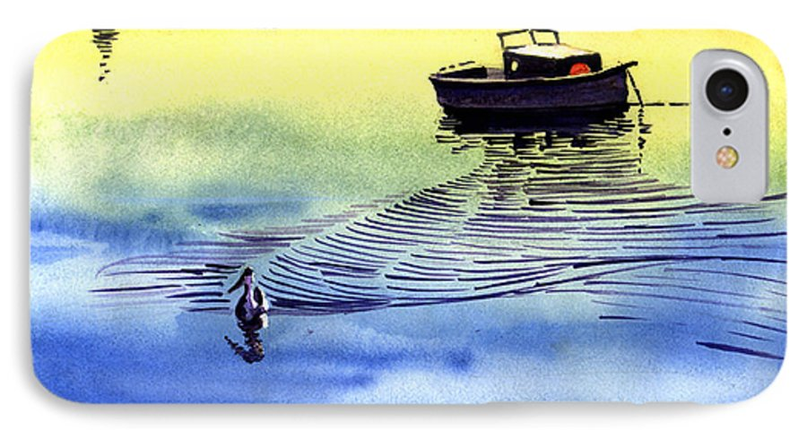 Watercolor IPhone 7 Case featuring the painting Boat And The Seagull by Anil Nene