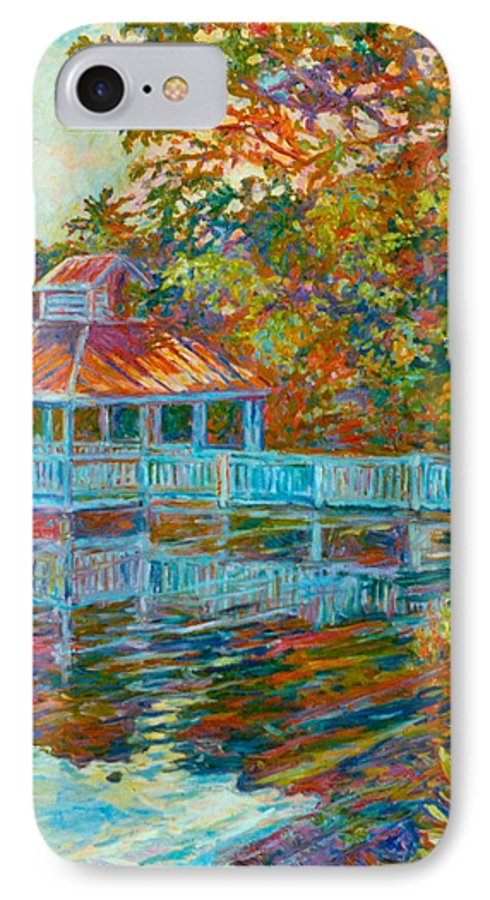 Mountain Lake IPhone 7 Case featuring the painting Boathouse At Mountain Lake by Kendall Kessler