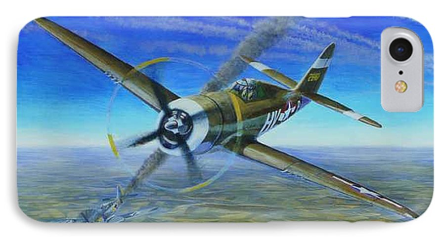 Bob Johnsons P-47 On October 10 IPhone 7 Case featuring the painting Bob Johnsons Thunderbolt by Scott Robertson