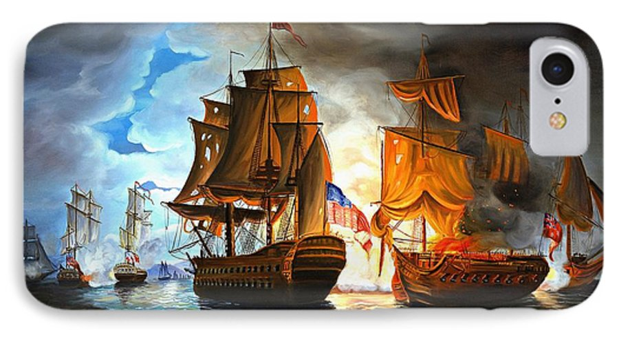 Naval Battle IPhone 7 Case featuring the painting Bonhomme Richard Engaging The Serapis In Battle by Paul Walsh