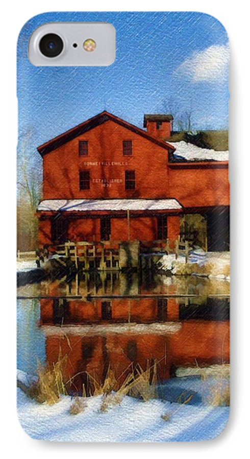 Bonneyville Mill IPhone 7 Case featuring the photograph Bonneyville In Winter by Sandy MacGowan