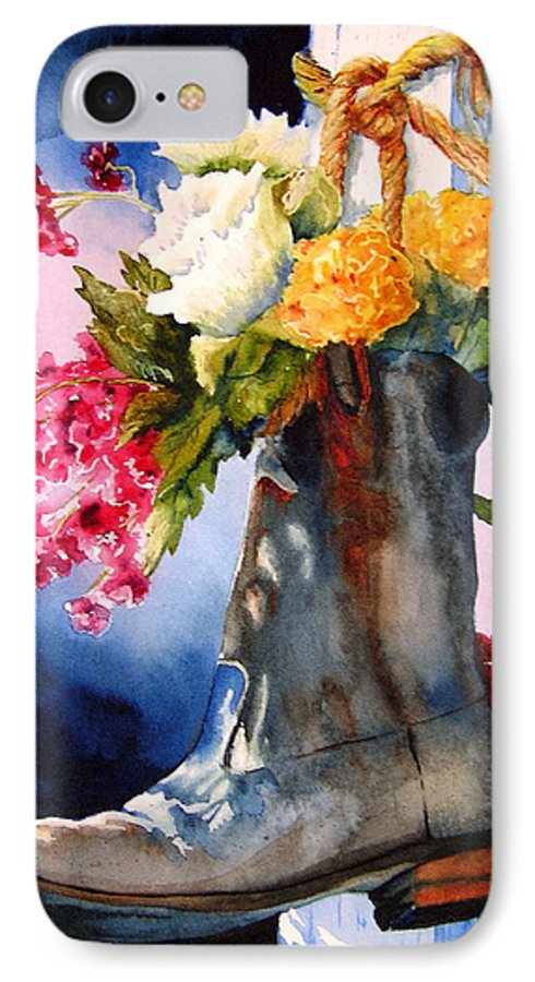 Cowboy IPhone 7 Case featuring the painting Boot Bouquet by Karen Stark