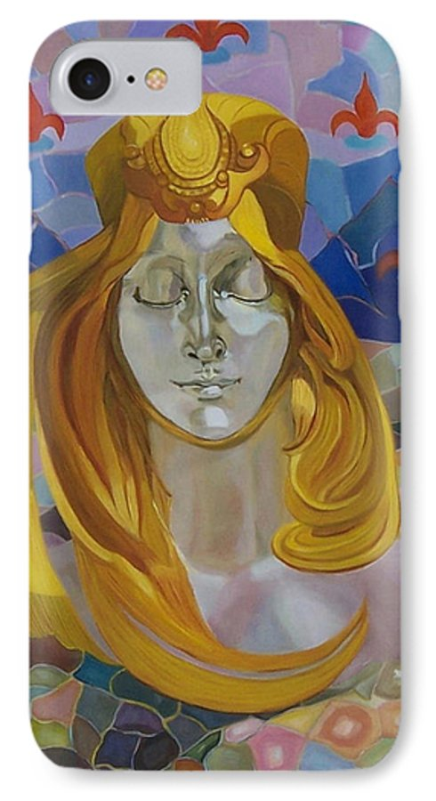 Figurative IPhone 7 Case featuring the painting Born-after Mucha by Antoaneta Melnikova- Hillman