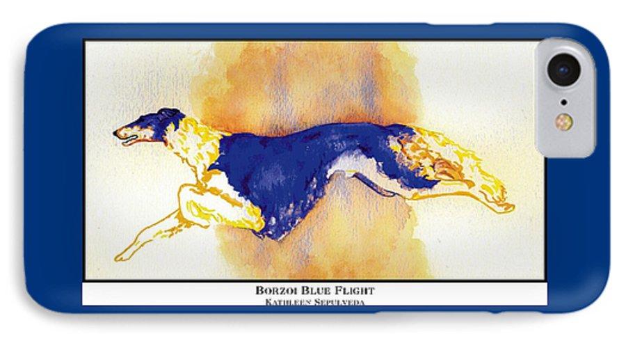 Borzoi IPhone 7 Case featuring the digital art Borzoi Blue Flight by Kathleen Sepulveda