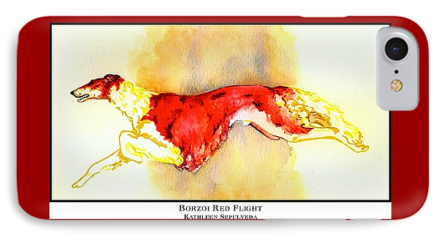Borzoi IPhone 7 Case featuring the digital art Borzoi Red Flight by Kathleen Sepulveda