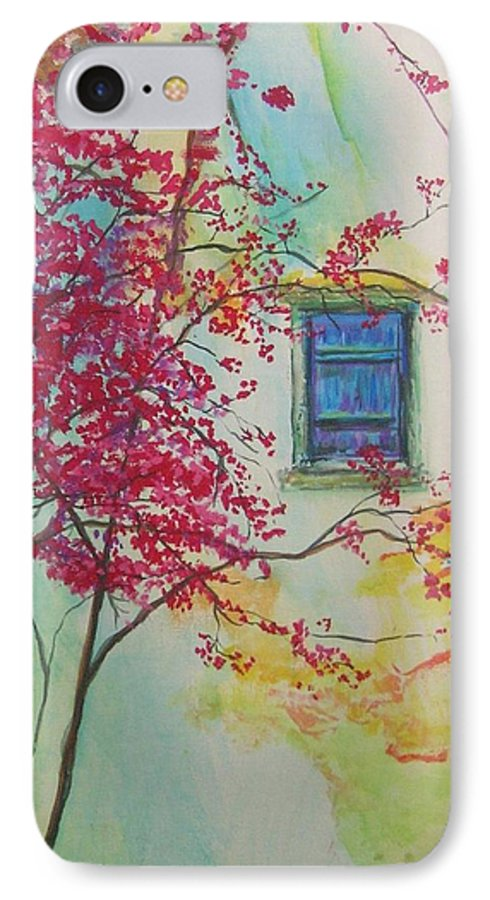 Bouganvilla IPhone 7 Case featuring the painting Bouganvilla And Blue Shutter by Lizzy Forrester