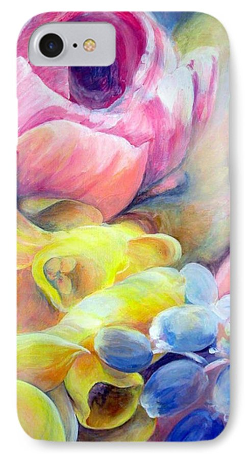 Flower IPhone 7 Case featuring the painting Bouquet by Muriel Dolemieux