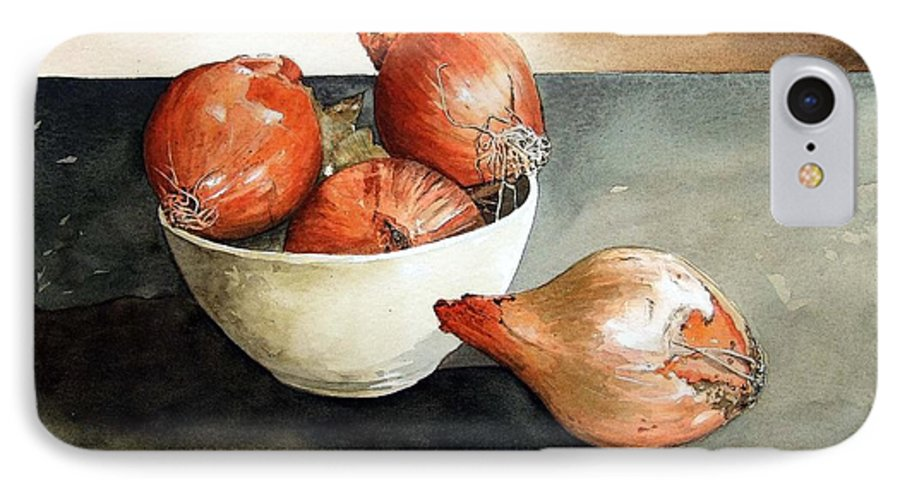 Still Life IPhone 7 Case featuring the painting Bowl Of Onions by Paul Dene Marlor