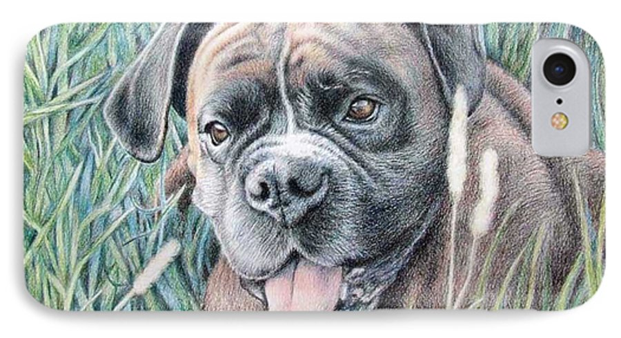 Dog IPhone 7 Case featuring the drawing Boxer Yosi by Nicole Zeug