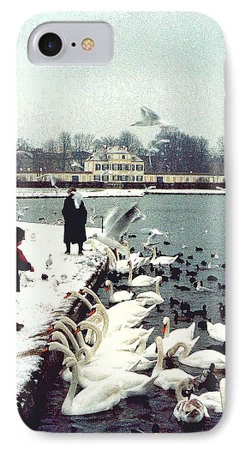 Swans IPhone 7 Case featuring the photograph Boy Feeding Swans- Germany by Nancy Mueller