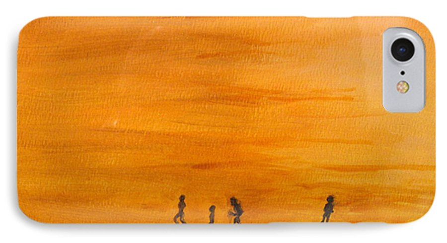 Boys IPhone 7 Case featuring the painting Boys At Sunset by Ian MacDonald