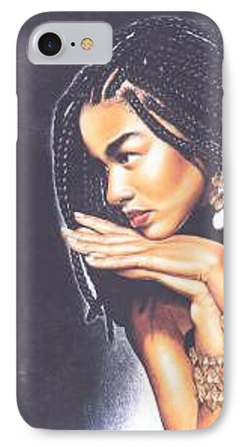 Woman W/folded Hands IPhone 7 Case featuring the drawing Braided Beauty by Charlene Cooper