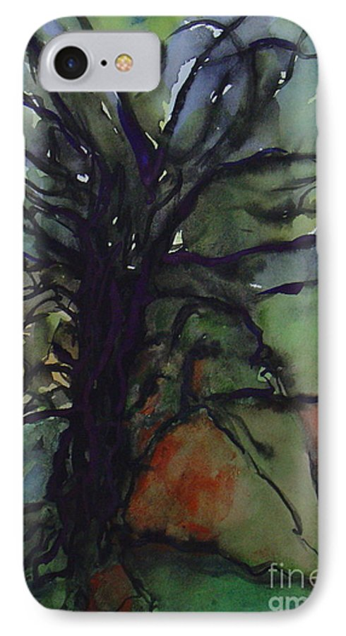 Tree Landscape Abstract Watercolor Original Blue Green IPhone 7 Case featuring the painting Branching by Leila Atkinson