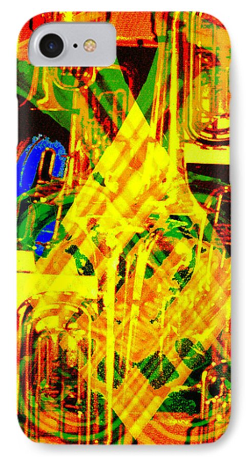 Festive IPhone 7 Case featuring the digital art Brass Attack by Seth Weaver
