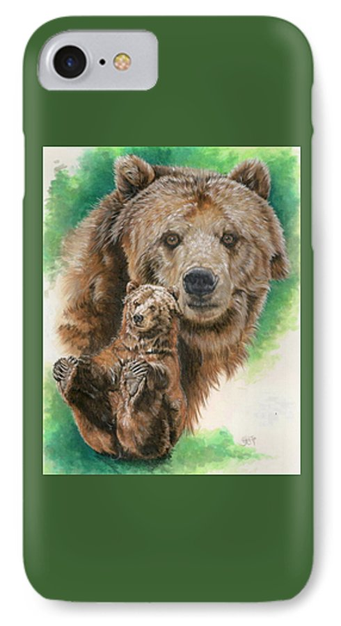 Bear IPhone 7 Case featuring the mixed media Brawny by Barbara Keith