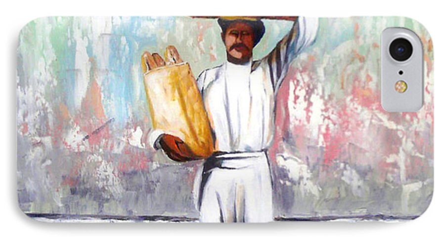 Bread IPhone 7 Case featuring the painting Breadman by Jose Manuel Abraham