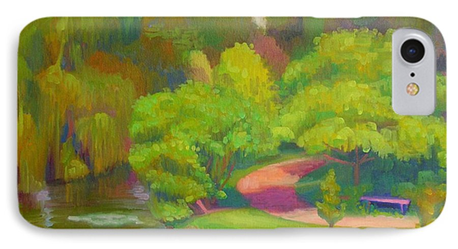 Landscape IPhone 7 Case featuring the painting Bright Hazy Day Chicago Botanical Gardens by David Dozier