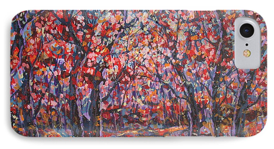 Forest IPhone 7 Case featuring the painting Brilliant Autumn. by Leonard Holland