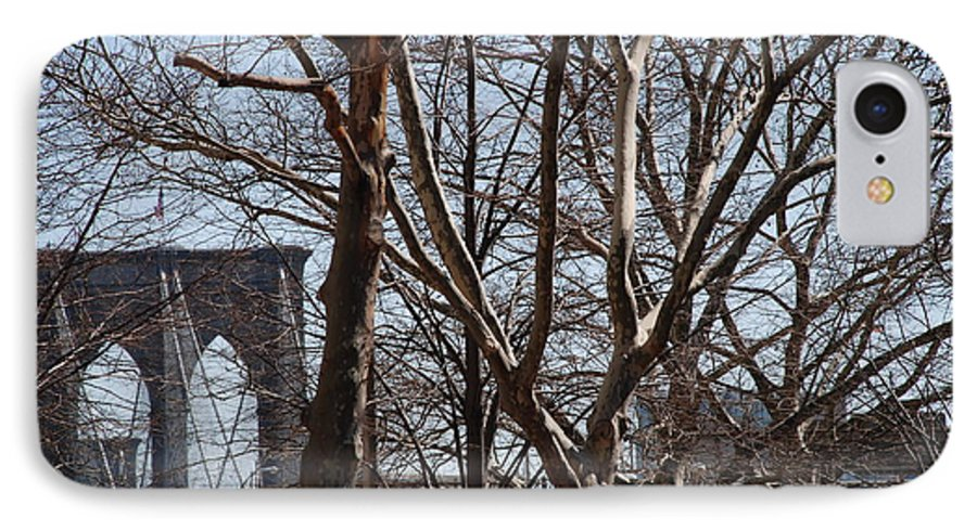 Architecture IPhone 7 Case featuring the photograph Brooklyn Bridge Thru The Trees by Rob Hans