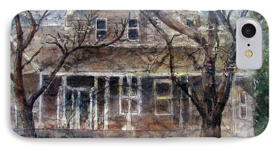 House IPhone 7 Case featuring the mixed media Brown Batik House by Arline Wagner