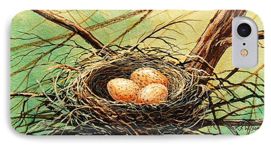 Wildlife IPhone 7 Case featuring the painting Brown Speckled Eggs by Frank Wilson