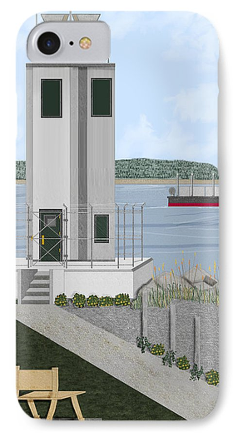 Lighthouse IPhone 7 Case featuring the painting Browns Point Lighthouse On Commencement Bay by Anne Norskog