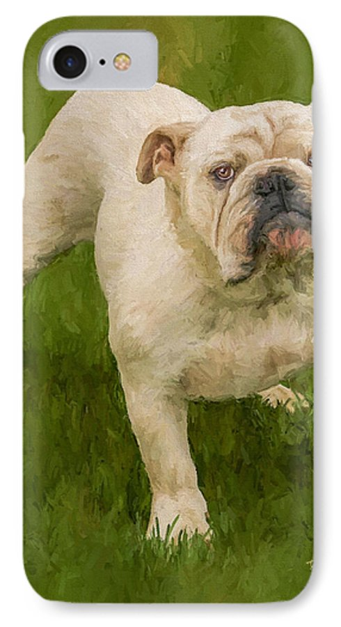 Dog IPhone 7 Case featuring the painting Bruce The Bulldog by David Wagner
