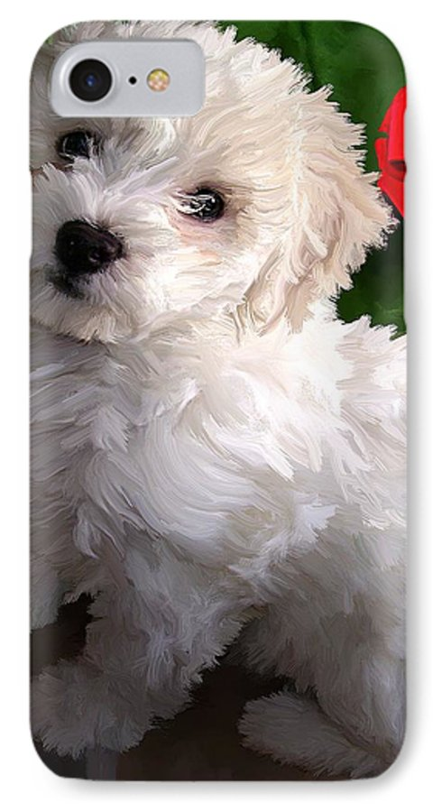 Bichon Friese IPhone 7 Case featuring the painting Bryce by David Wagner