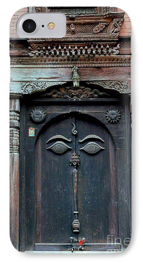 Nepal IPhone 7 Case featuring the photograph Buddha's Eyes On Nepalese Wooden Door by Anna Lisa Yoder