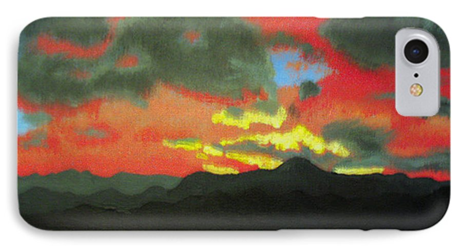 Sunset IPhone 7 Case featuring the painting Buenas Noches by Marco Morales