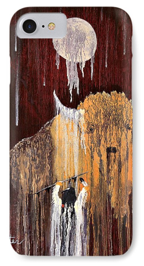 Native Art IPhone 7 Case featuring the painting Buffalo Spirit by Patrick Trotter