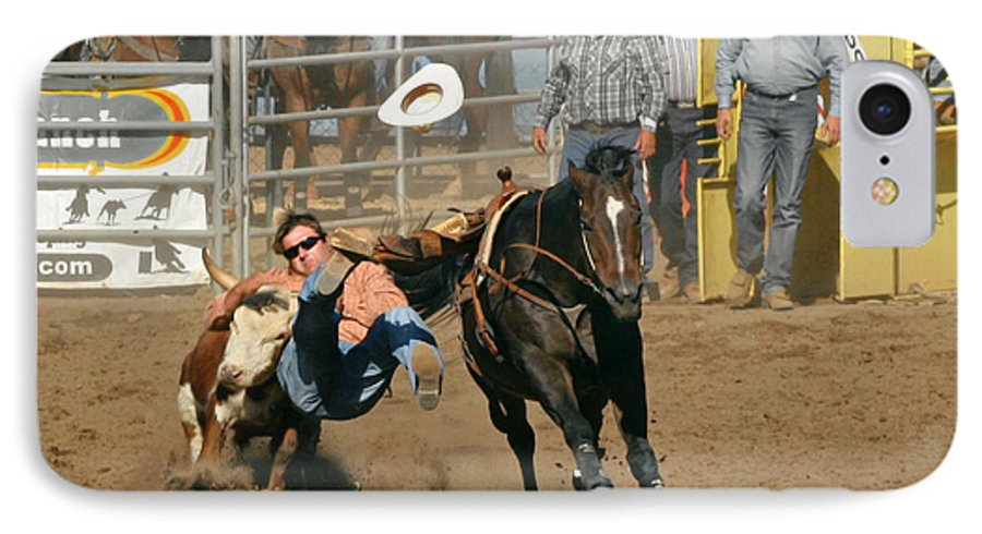 Cowboy IPhone 7 Case featuring the photograph Bulldogging At The Rodeo by Christine Till