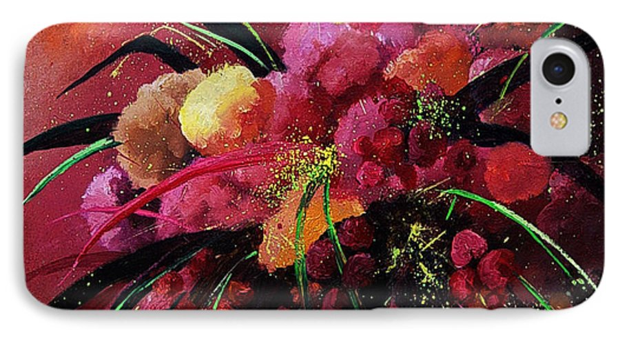 Flowers IPhone 7 Case featuring the painting Bunch Of Red Flowers by Pol Ledent