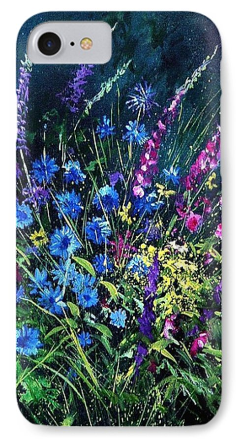 Poppies IPhone 7 Case featuring the painting Bunch Of Wild Flowers by Pol Ledent